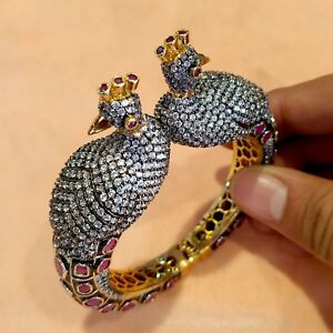 Victorian Peacock Design With CZ Beads Gold Plated Indian Cuff Bangle Bracelet
