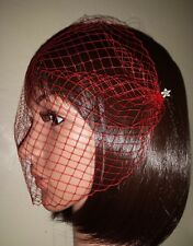 "Red Gothic birdcage bandeau veil 9"" with diamante pearl hair pins. Valentine Day"