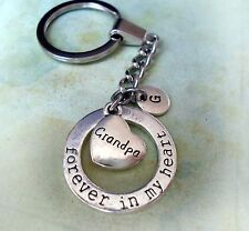Grandpa Keychain - Forever in My Heart with Letter Charm * Grandfather Gift