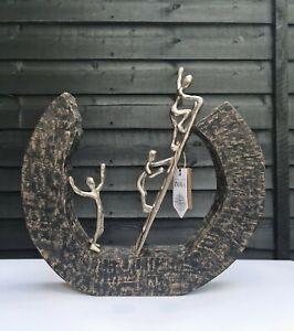 Trio Men & Scale Silver Metal and Wood Sculpture Handmade Unique Decoration