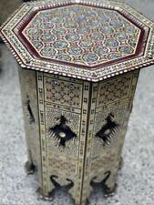 Handmade End Table, Side Table, wood Inlaid Shell