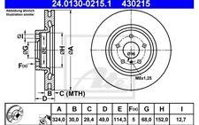 ATE Juego de 2 discos freno 324mm ventilado para NISSAN 350 24.0130-0215.1