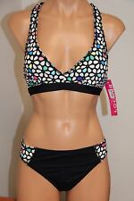 NWT Anne Cole Locker Swimsuit Bikini 2 pc set Sz L XL Racer Back Bra Multi Color