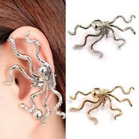 1pc Fashion Women Punk Rock Retro Octopus Stud Ear Wrap Cuff Clip Buckle Earring