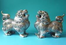 Gum1850/un paio di fo-CANI/Argento/peso ca. 2270 grammi/Cina Tibet Nepal