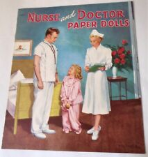 Nurse and Doctor Paper Dolls Vintage Saalfield 1952 Betty Campbell Uncut
