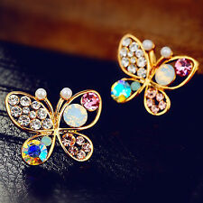 Women's Crystal Butterfly Wings Animal Insect Party Earrings Stud Gift