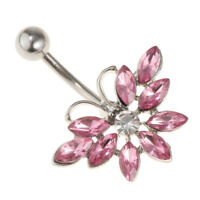 14G Pink Crystal Butterfly Belly Button Bar Navel Ring Body Piercing Jewelry