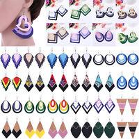 Fashion Wood Geometric Earrings Hook Wooden Ear Studs Drop Dangle Jewelry Decor