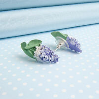 LILAC stud EARRINGS   hand-painted flower jewellery   MADE IN WALES UK