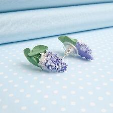 Orecchini a Perno lilla dipinta a mano fiore gioielli Made in UK Galles