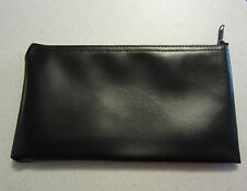 1 Black Vinyl Zipper Bank Bag Money Jewelry Pouch Coin Currency Wallet Coupons