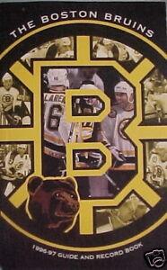 1996-97 BOSTON BRUINS Guide & Record Book RAY BOURQUE