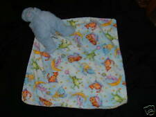 Floppy Babies Security Blanket Blue Hippo Print Flannel Baby Lovey Boy