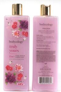 2 Bodycology Truly Yours Moisturizing Shea 2 In 1 Body Wash & Bubble Bath 16 Oz