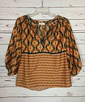 Collective Concepts Stitch Fix Women's S Small Gold Print Cute Spring Blouse Top