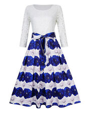 Women's Vintage Swing Rockabilly Cocktail Party Plus Size Lace Dress White Blue