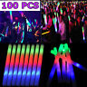 100 Light Up LED Foam Glow Sticks Flashing Wands Rally Rave Batons Party Concert