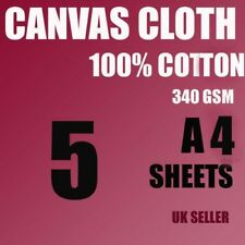 5 A4 CANVAS COTTON SHEETS 340 GSM FOR ARTIST, PAINTING, INKJET WHITE ,NOT PAPER