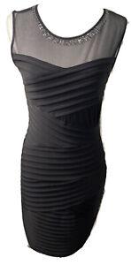 Calvin Klein Dress Black Sleeveless Evening Knee Length Stretch  Size 8 Figure