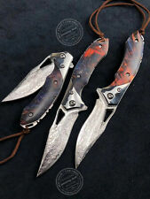 VG10 DAMASCUS FOLDING KNIFE ASSISTED RESCUE CAMPING FLIPPER KNIVES BALL BEARING