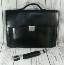 Black Faux Leather Laptop Attaché Briefcase Satchel Work Bag Case