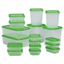 Set of 17 x IKEA PRUTA Clear Plastic Freezable Food Containers with Green Lids