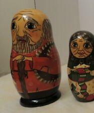 Vintage Hand-painted Matryoshka Nesting Doll 7 piece set Signed Family Theme