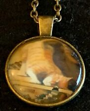 CAT Necklace NEW Domed Cabochon w/ chain (B) Bronze tone