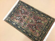 """2'.0"""" X 3'.1"""" Rose Navy Blue Sarouk Persian Oriental Area Rug Hand Knotted Wool"""