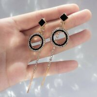 Elegant Korean Style Crystal Rinestone Tassel Drop Dangle Earrings Women Jewelry