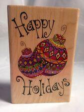 Inkadinkado Swirly 9965 Happy Holidays Chrismas Ball Ornaments Rubber Stamp