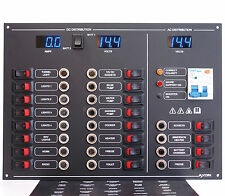 20 Way AC/DC Circuit Breaker & Switch Panel, Volts & Amps Meters