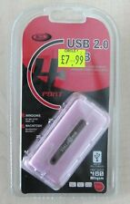 BCL 4 Port High Speed USB Hub 480Mbps for PC Laptop Windows / Mac Pink RRP £7.99
