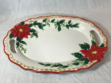 VINTAGE BICO CHINA CHRISTMAS POINSETTIA SERVING TRAY WITH HANDLES