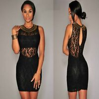 Sz 10 12 Sleeveless Black Lace Bodycon Prom Cocktail Party Sexy Slim Mini Dress