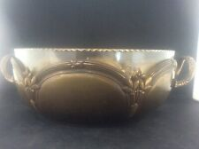 c1910 Art Nouveau Metal 2 Handled Fruit Bowl Stylised Flowers with Glass Liner W