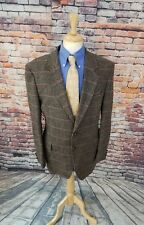 Boston Traders 44L 2 Button Taupe Plaid TWEED Wool ELBOW PATCH Sport Coat Blazer