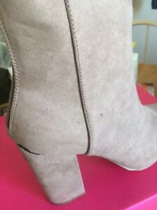 ShoeDazzle Womens GiGi Booties Taupe boots size 8 - NEW