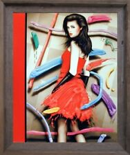 Vogue Exotic Woman in Red Dress Fashion Wall Decor Barnwood Framed Picture 19x23