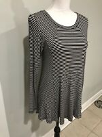 Soft Surroundings Top Tunic Stretch Striped Black White Long Sleeve Sz S