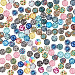 100/200 Mosaic Printed Glass Dome Flatback Cabochons For Pendants Jewelry Making