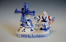 Vintage Hand Painted Delft Blue Dutch Milk Maid and Windmill Figurine White/Blue