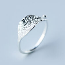 Real Pure 925  Silver Big Leaf Wedding Rings For Women Adjustable Size Ring