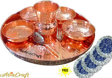 AsiaCraft Indian Pure Copper Dinner Set Thali (Plate) with Bowl, Glass & Spoon
