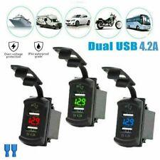 12V Dual USB Charger Car Boat Socket Rocker Switch Panel with Voltage Voltmeter