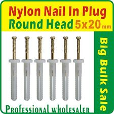 500 x  Nylon Nail In Plug 5 x 20mm Round Head  Anchor Knock Ins