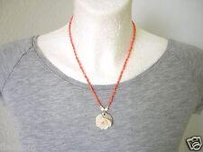 Kette Engelshaut Koralle,Perle,Muschelkoralle & weiße Koralle Rose Anhänger 8,4g