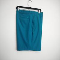 Nike Flex Mens 38 Golf Shorts Flat Front Snap Waistband Stretch Teal Blue  New