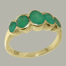 Solid 9k Yellow Gold Natural Emerald Womens Band Ring - Sizes J to Z